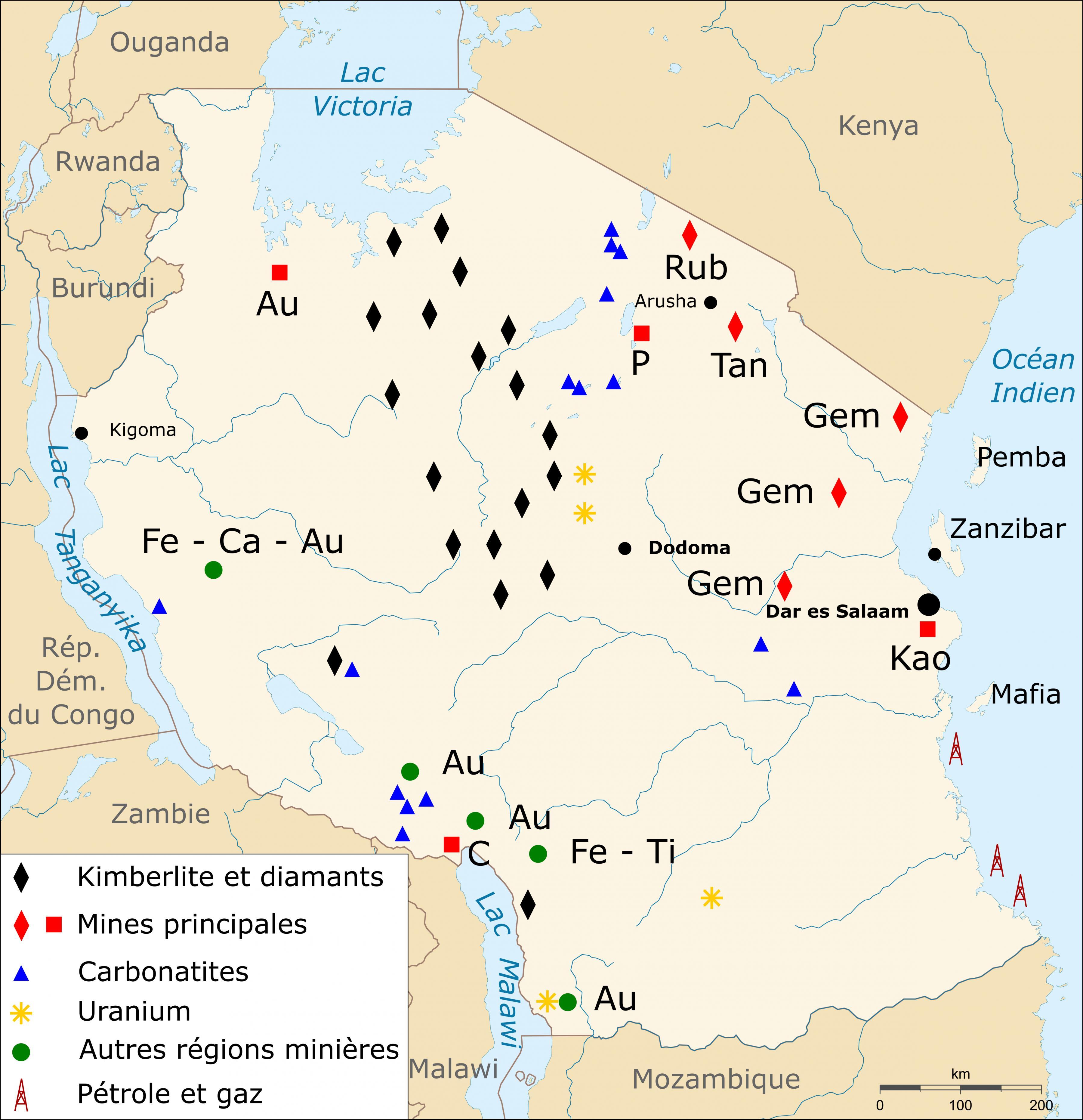 Carte Afrique Ressources Naturelles.En Tanzanie Les Ressources Naturelles De La Carte Carte