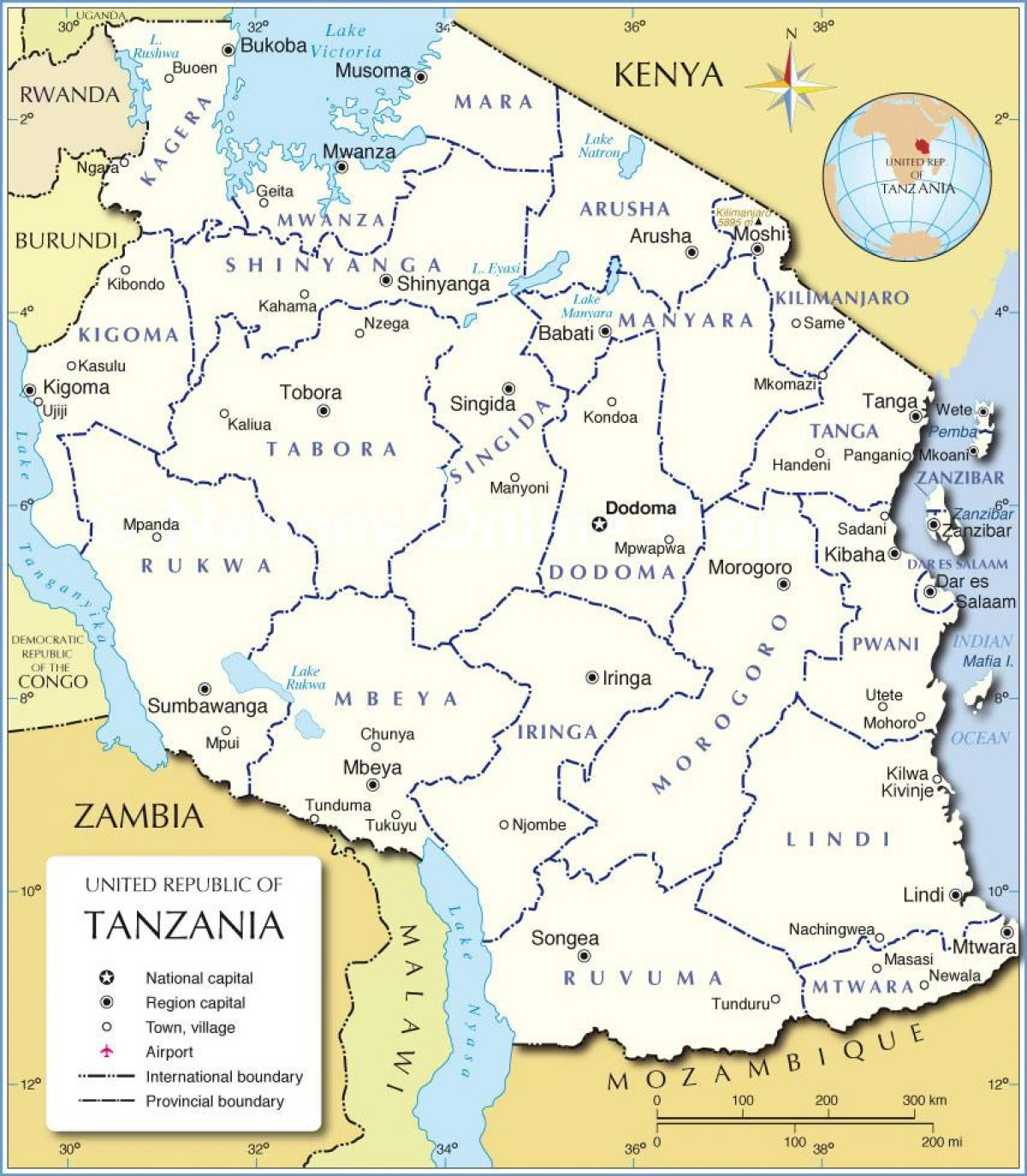 Carte de la tanzanie avec le district